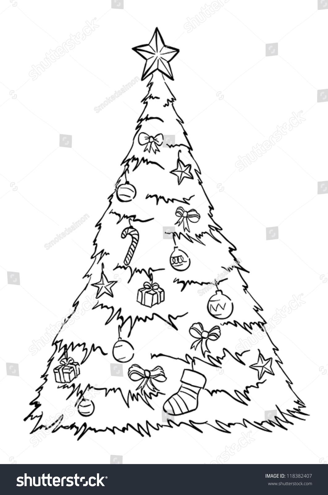 Christmas tree drawing outline - Christmas Tree Outline Vector