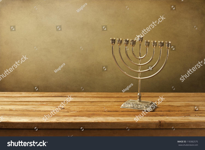 Menorah On Wooden Table Hanukkah Holiday Stock Photo Download Now