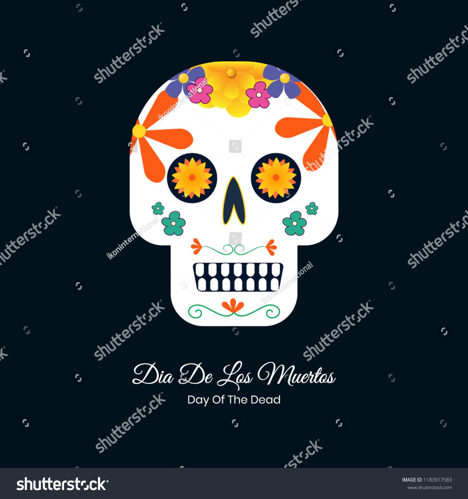 Dia de los muertos colorful vector skull design for wallpaper and banner design.
