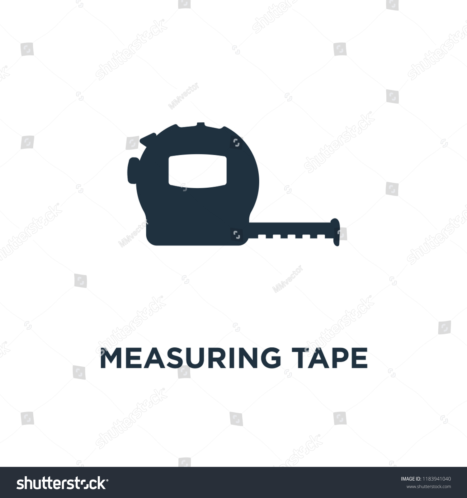 Measuring Tape Icon Black Filled Vector Stock Royalty Free Diagram Illustration Symbol On White Background