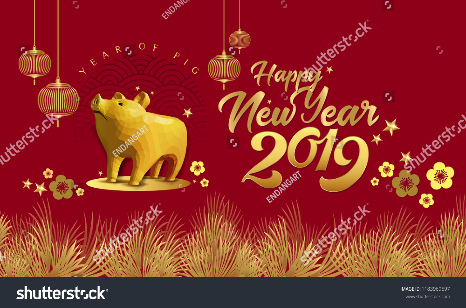 Happy Chinese New Year 2019 Year Stock Vector Royalty Free
