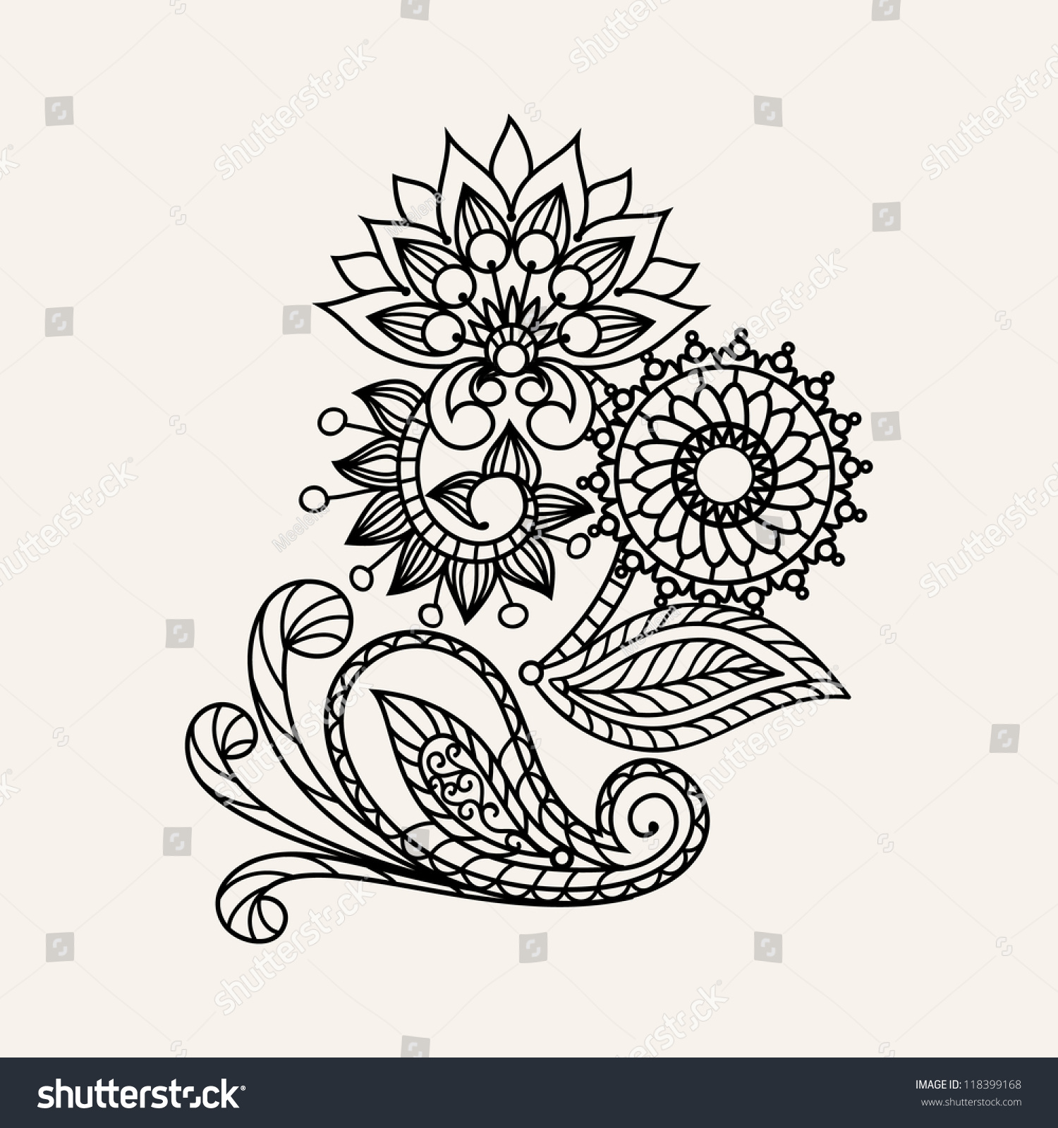 floral pattern hand drawing illustration henna stock