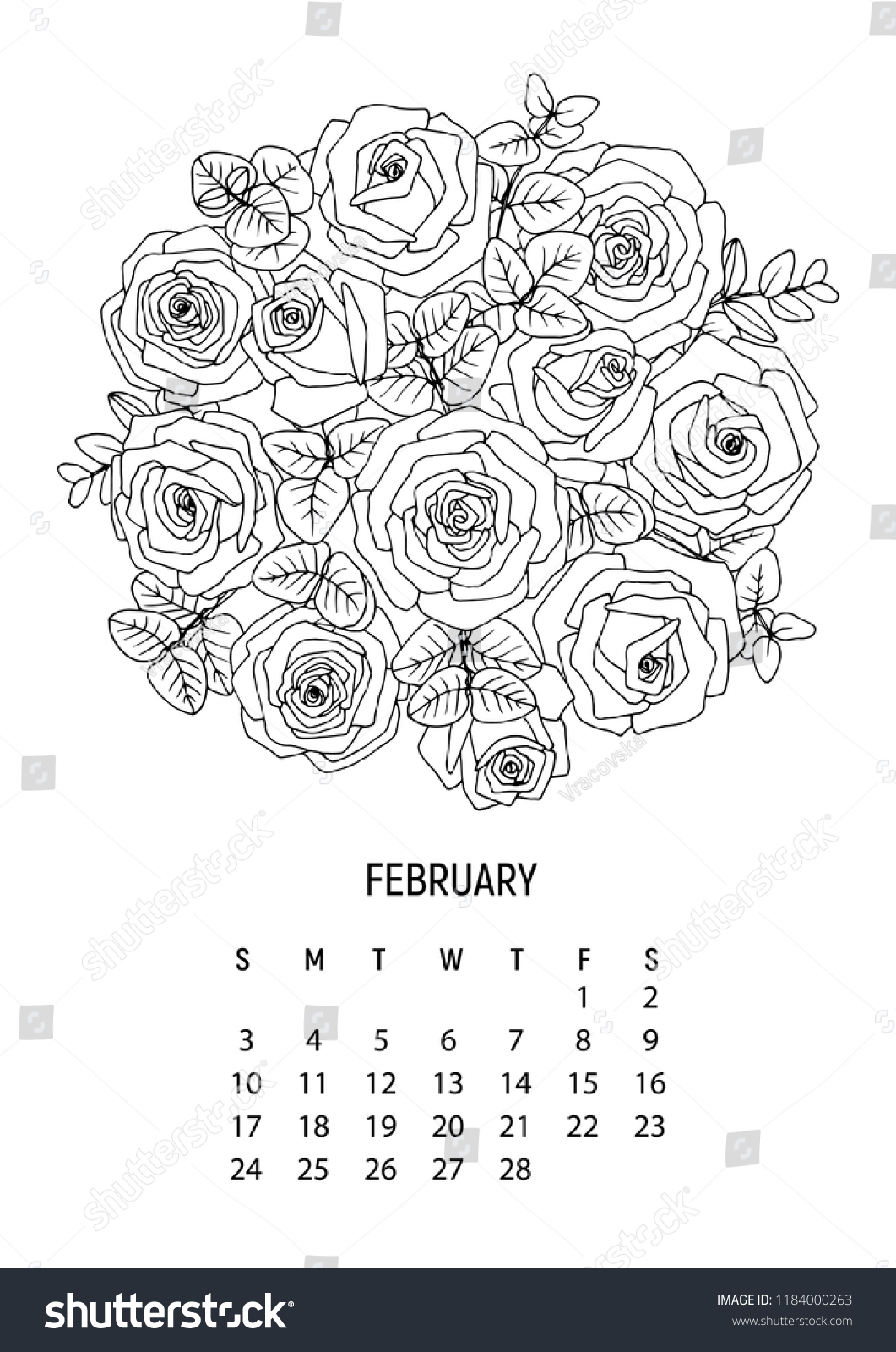 Book It Calendar February 2019 Flower Bouquet Coloring Calendar Page 2 Stock Vector (Royalty Free