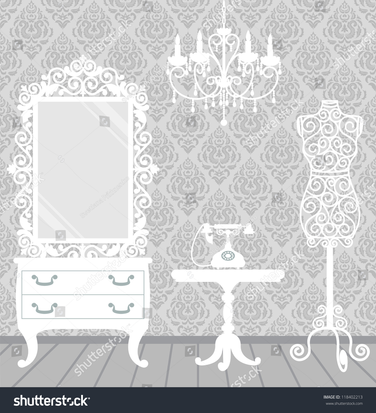 Womens room vintage boudoir style mannequin stock photo photo womens room in vintage boudoir style with mannequin chandelier mirror table and arubaitofo Gallery