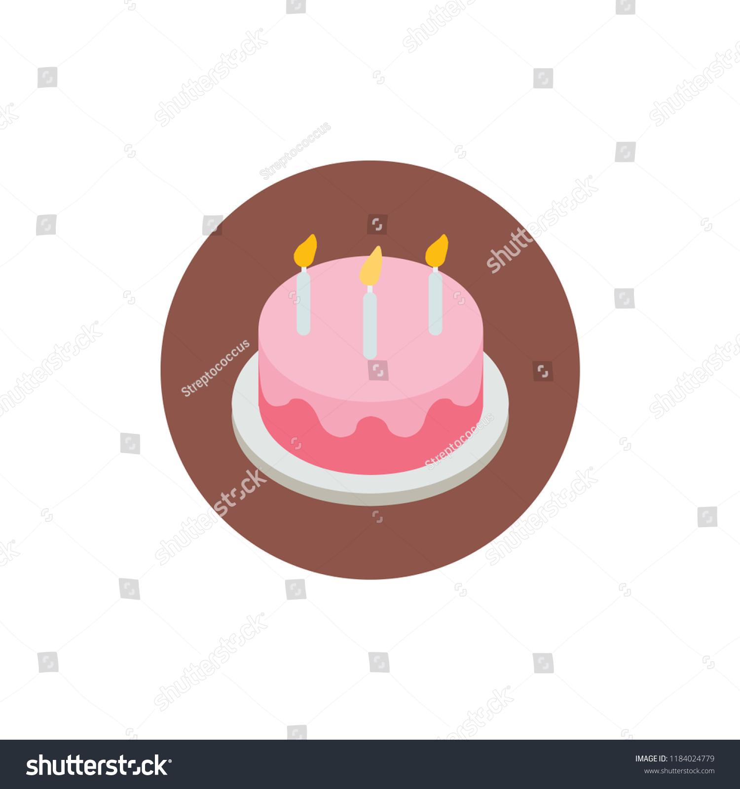 Birthday Cake Homemade Sweet Dish Food Kids Dessert Bakery Vector Illustration Flat Icon Symbol Emoji Emoticon