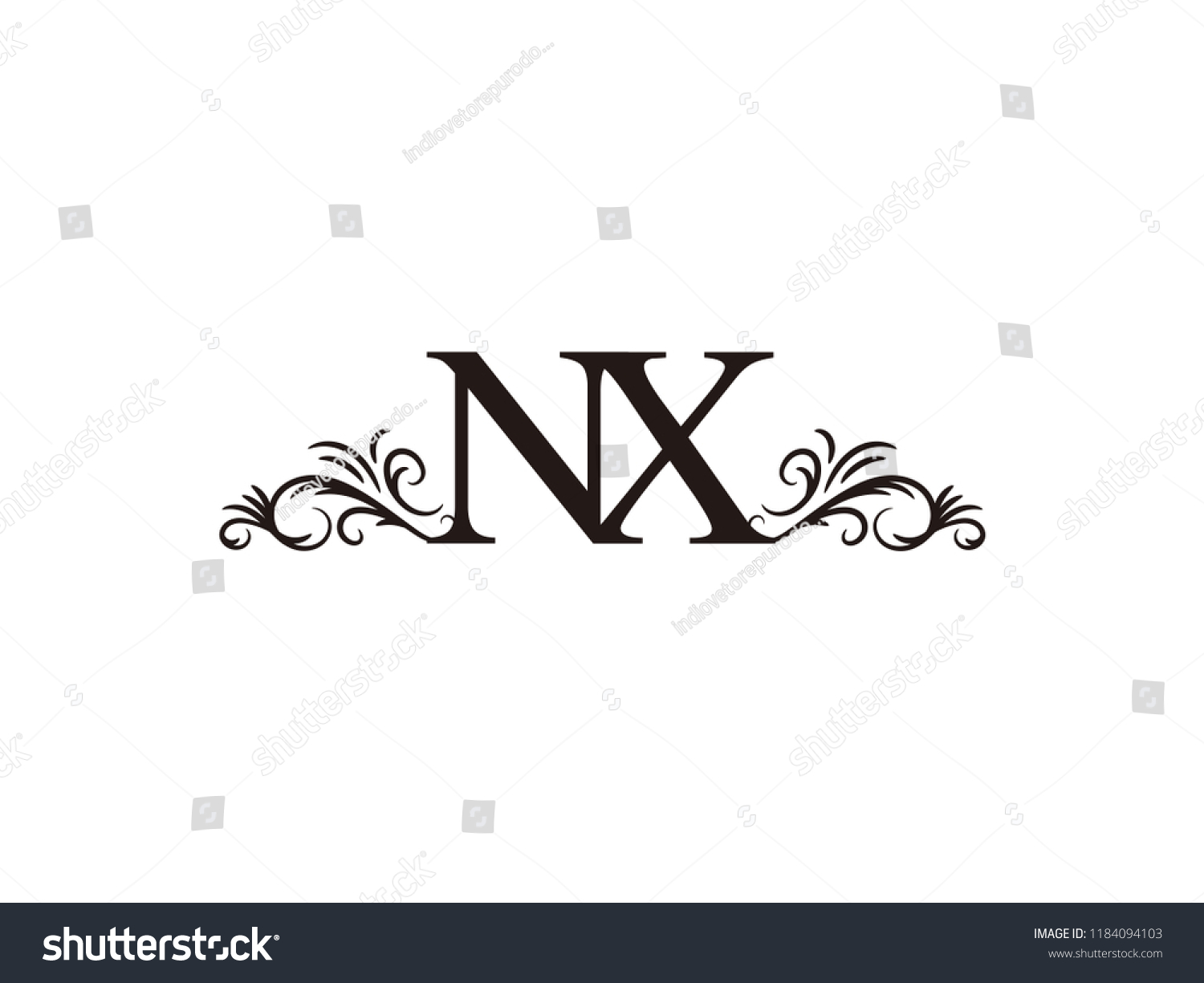 vintage initial letter logo nx couple wedding name