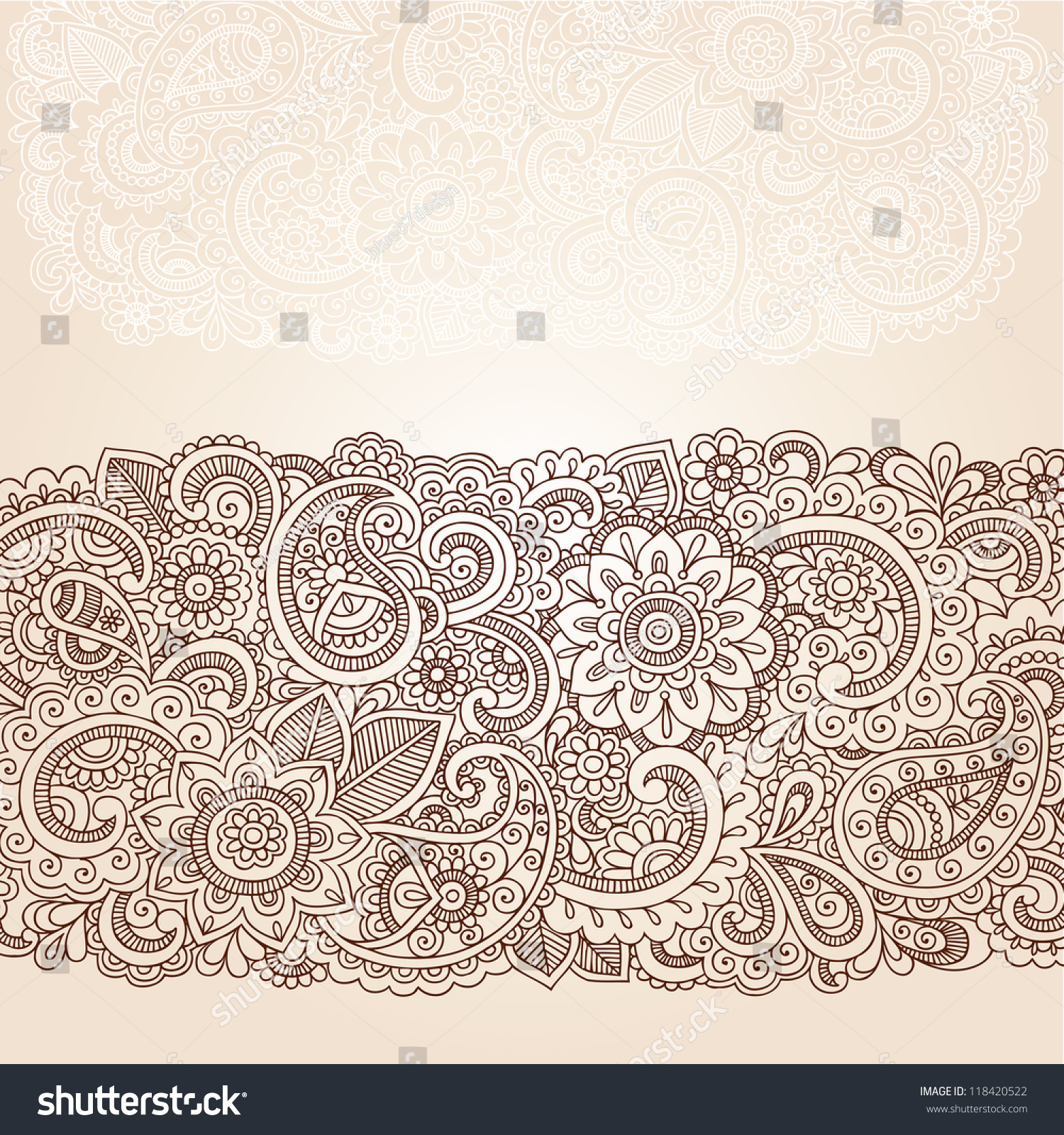 henna flowers paisley mehndi tattoo edge stock vector 118420522 shutterstock. Black Bedroom Furniture Sets. Home Design Ideas