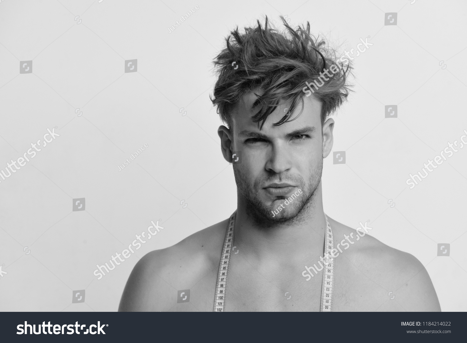 Athlete Messy Hair Measures Nude Body Stock Photo Edit Now