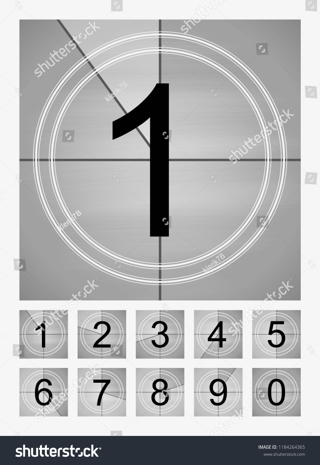 Movie Countdown Frames Set Old Film Stock Vector (Royalty Free ...