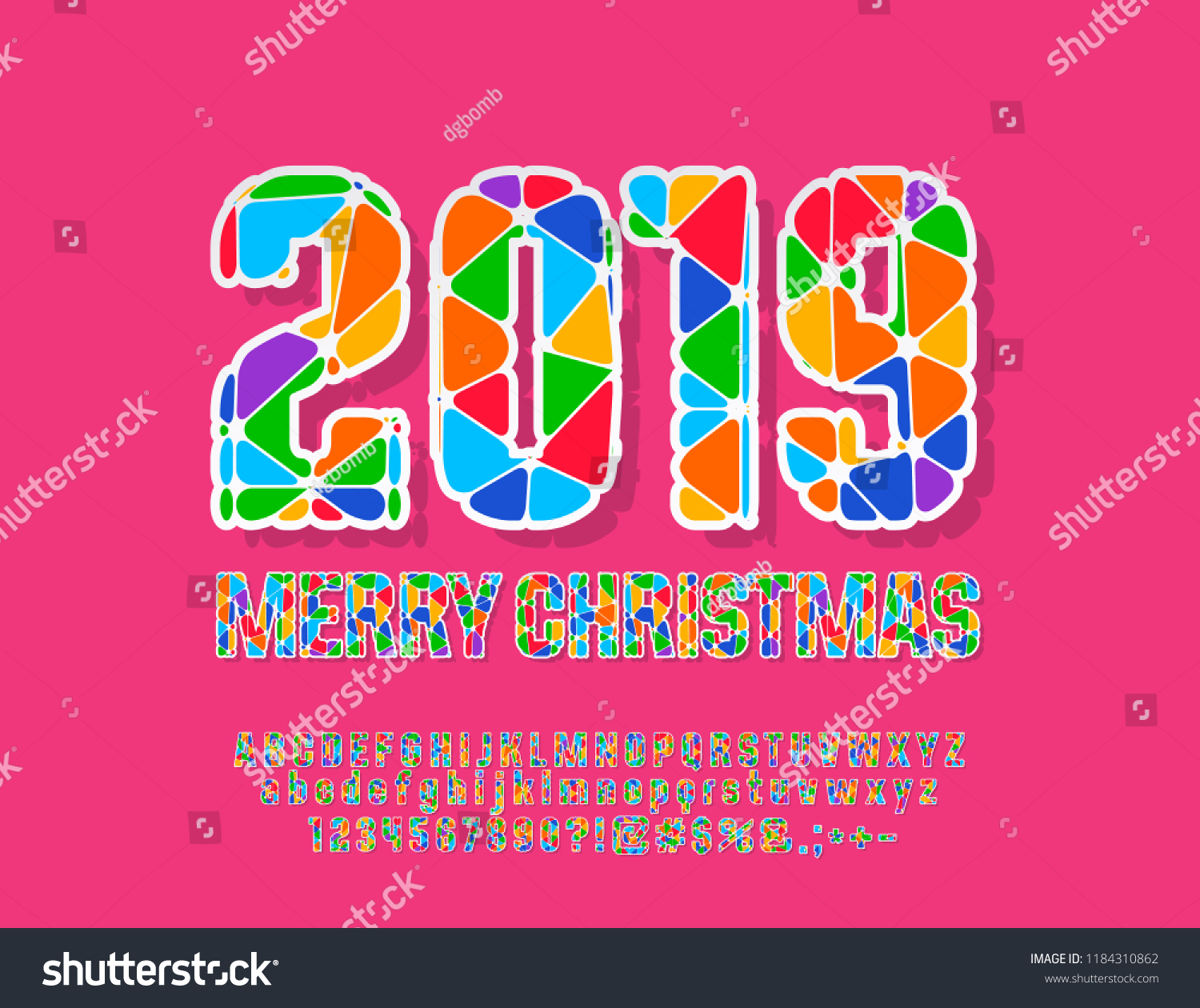 Vector Colorful Merry Christmas 2019 Greeting Stock Vector (Royalty ...