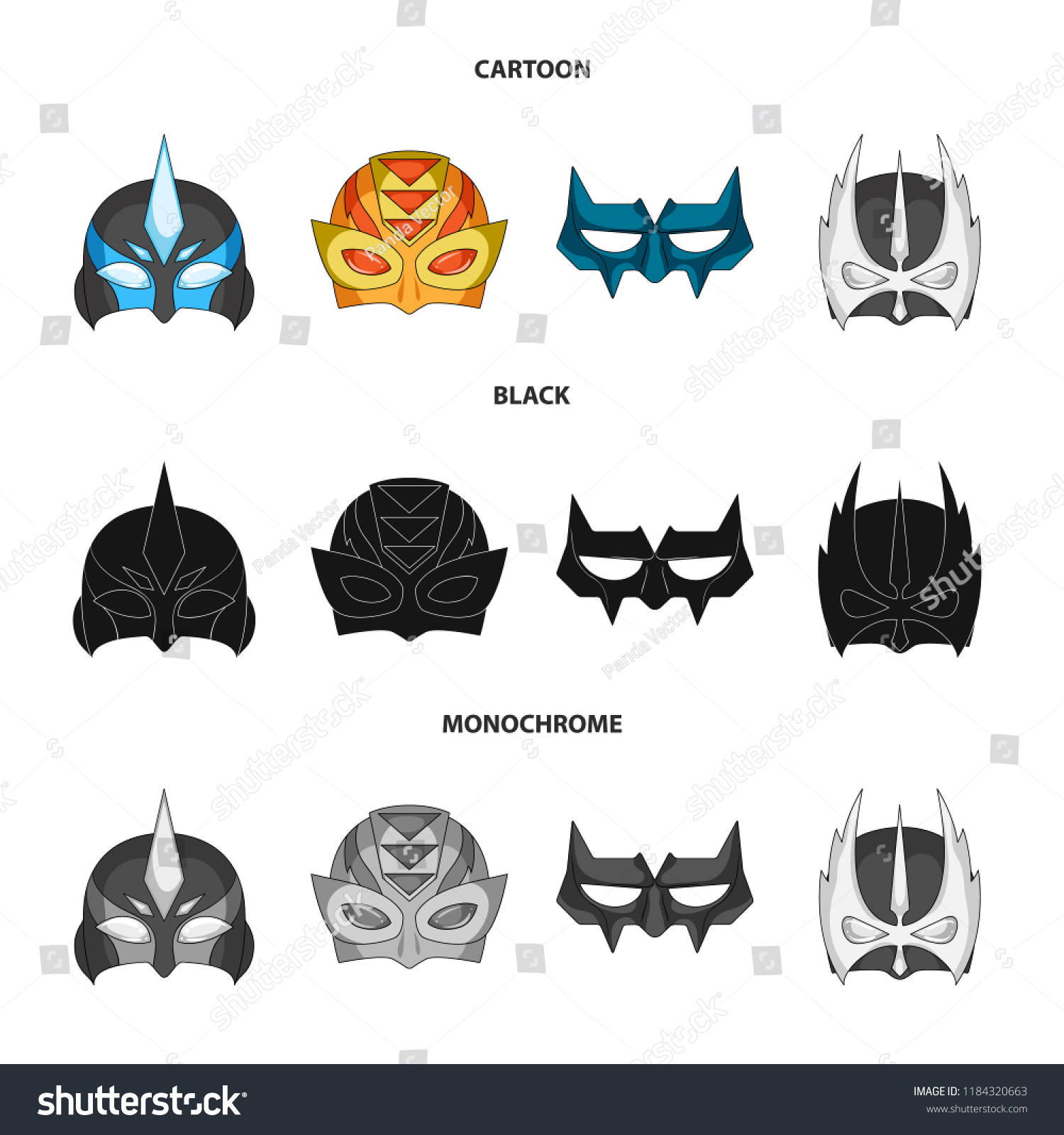 Vector Design Hero Mask Logo Set Stock Vector Royalty Free