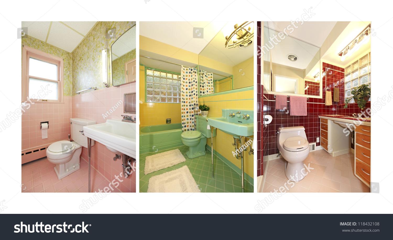 Retro Bathrooms Collage With Colorful Old Bathroom Interior. Mid Century  Pink, Green,