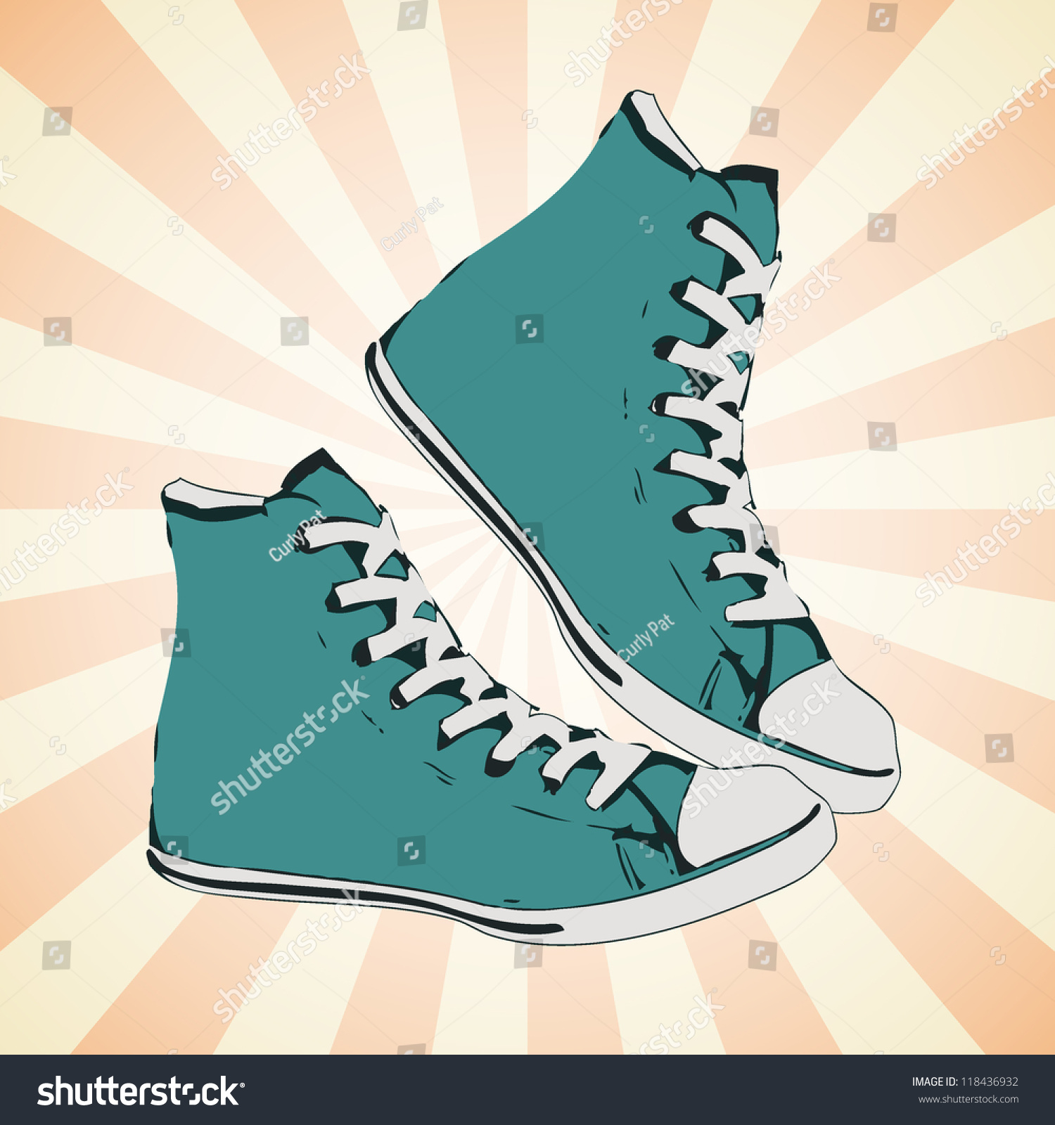 High Green Sneaker Side View Gumshoe Stock Vector Royalty Free