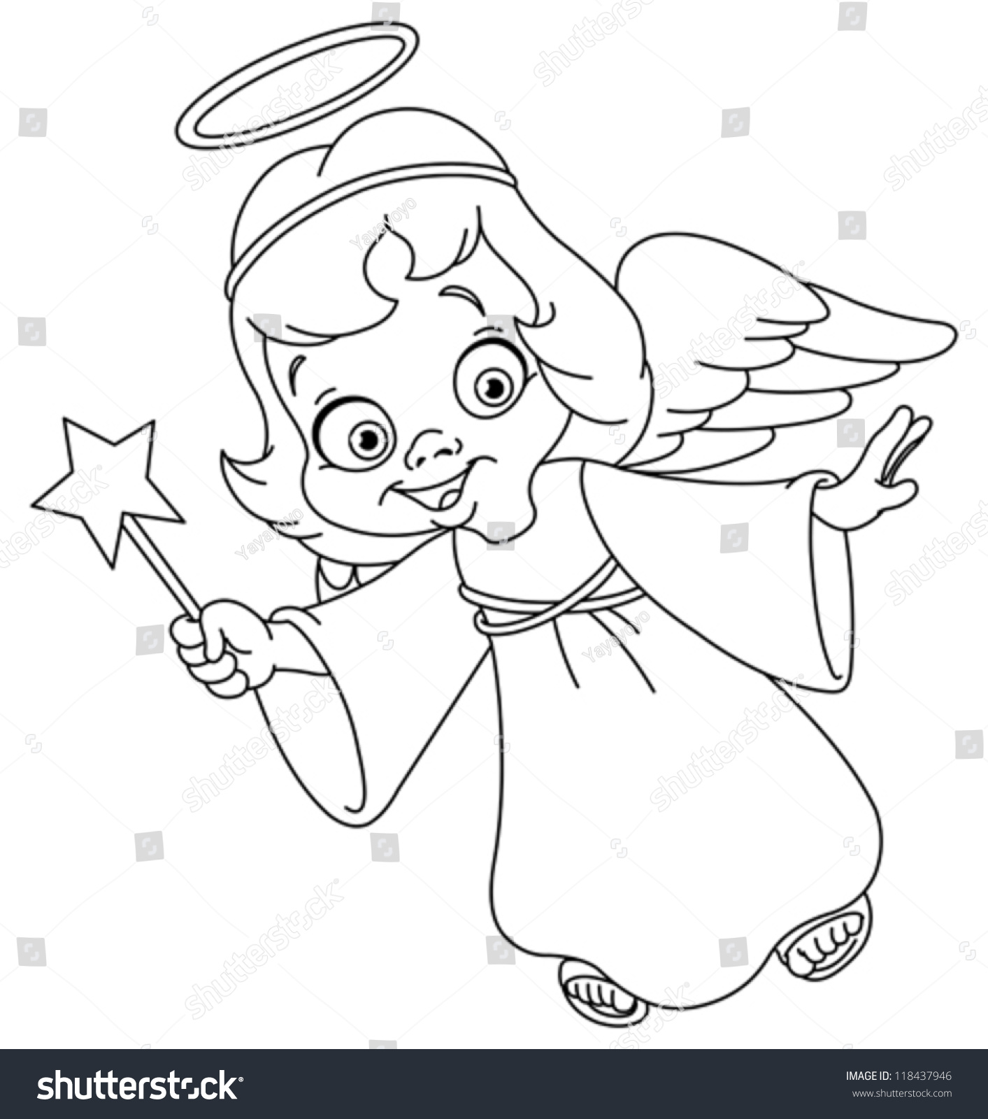 Outlined Christmas Angel Coloring Page