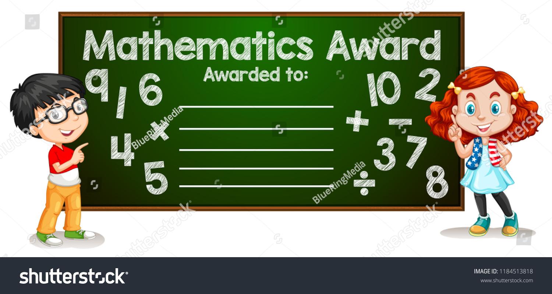 mathematics award template concept illustration stock vector