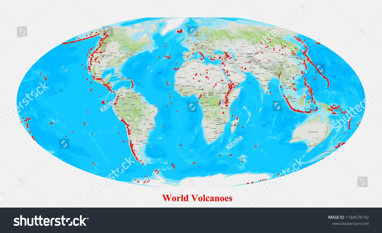 World Volcanoes Map 3 D Rendering Stock Illustration Royalty Free