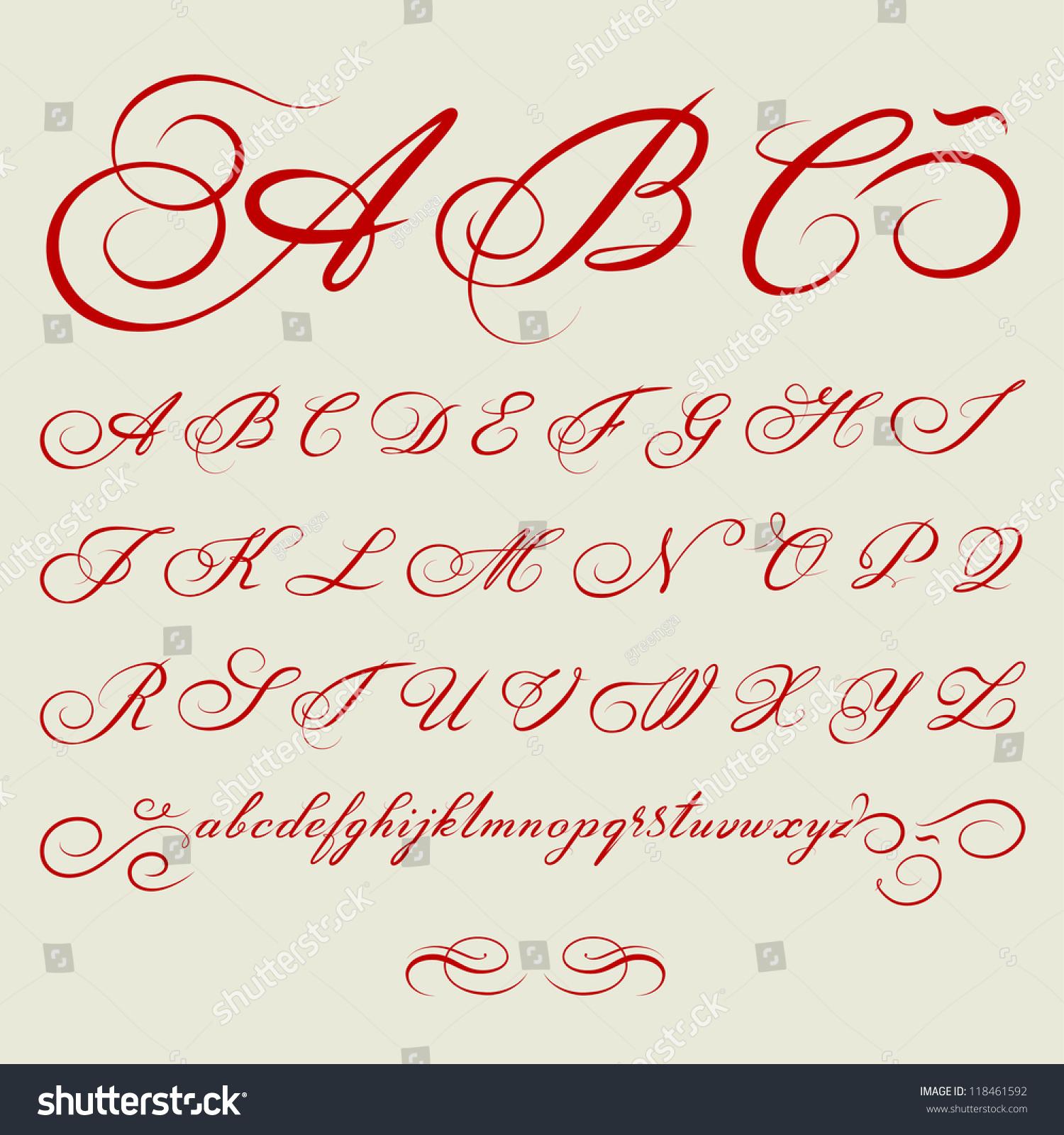 Vector hand drawn calligraphic alphabet based immagine