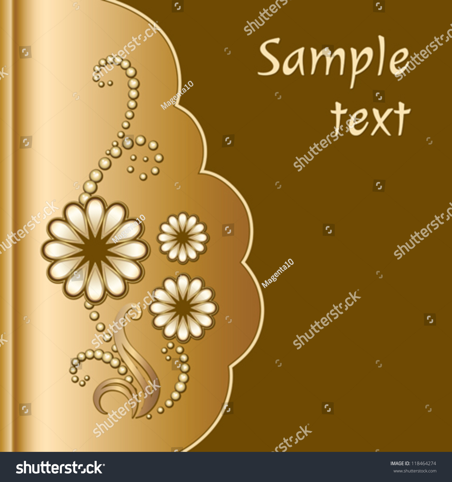 Scrapbook cover - Gold Scrapbook Cover With Jewelry Flowers Decorative Vector Background