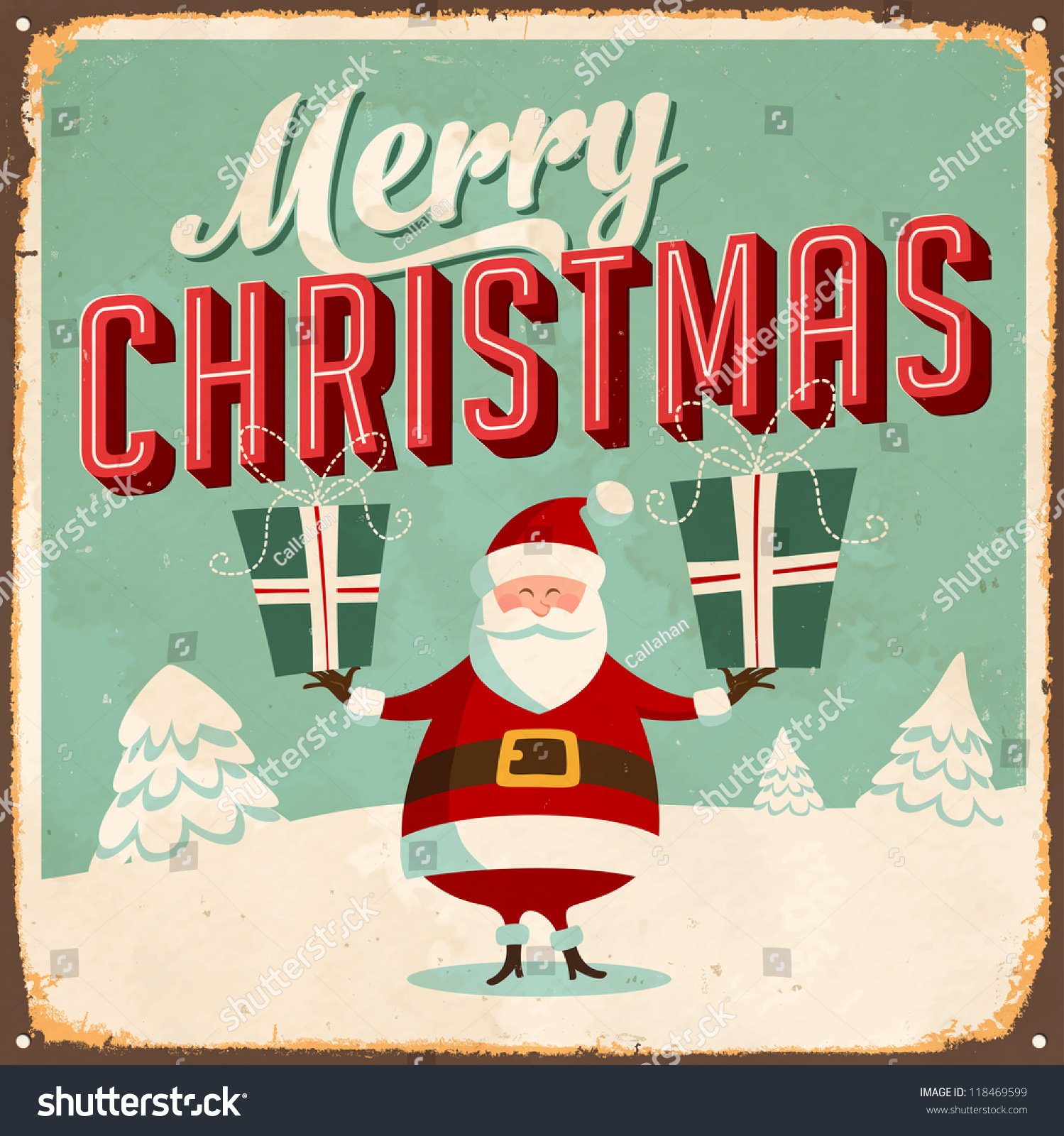 Vintage Metal Sign Merry Christmas JPG Stock Illustration 118469599 ...