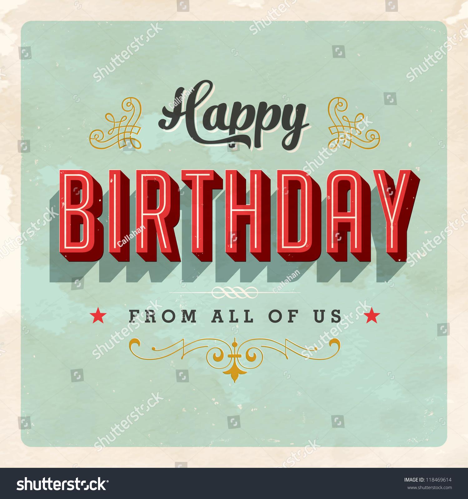 vintage birthday card jpg version stock illustration, Birthday card