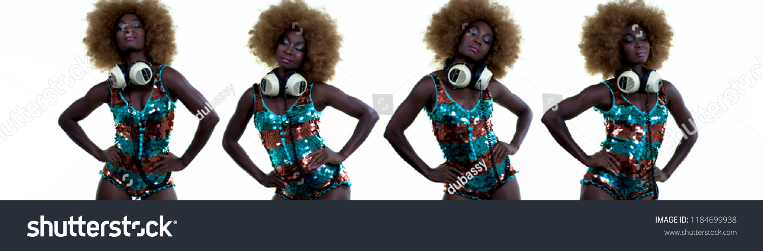 beautiful african female model in large afro wig dancing in white lingerie  and headphones. multiple 87b7bae08