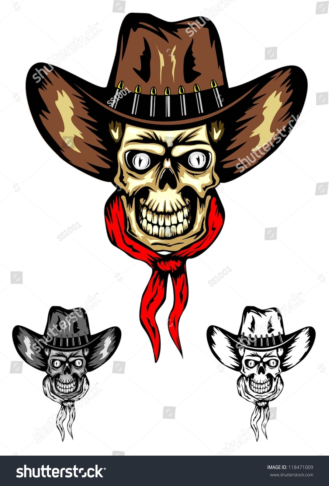 38bb233bab1b6 Vector image of skull in cowboy s hat