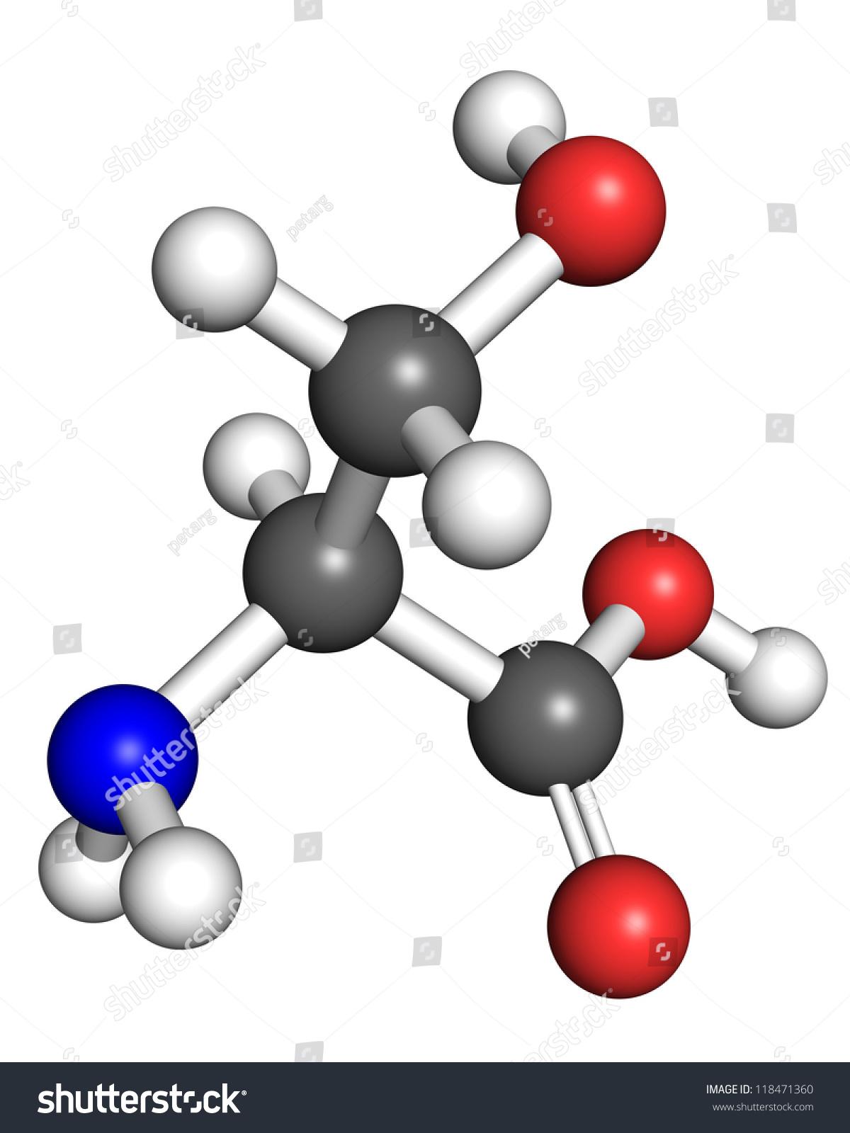Serine Amino Acid Molecule Ball Stick Stock Illustration 118471360 ...