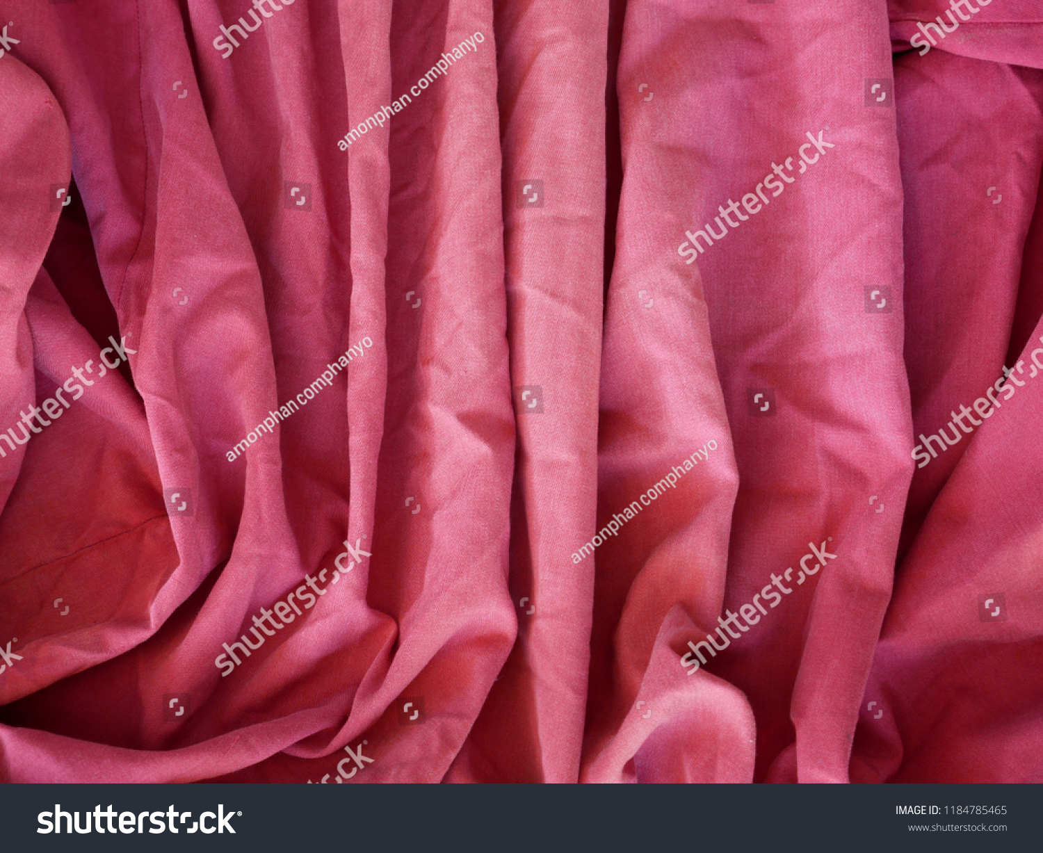 Pink Synthetic Lining Fabric Folds Crumpled Stock Photo