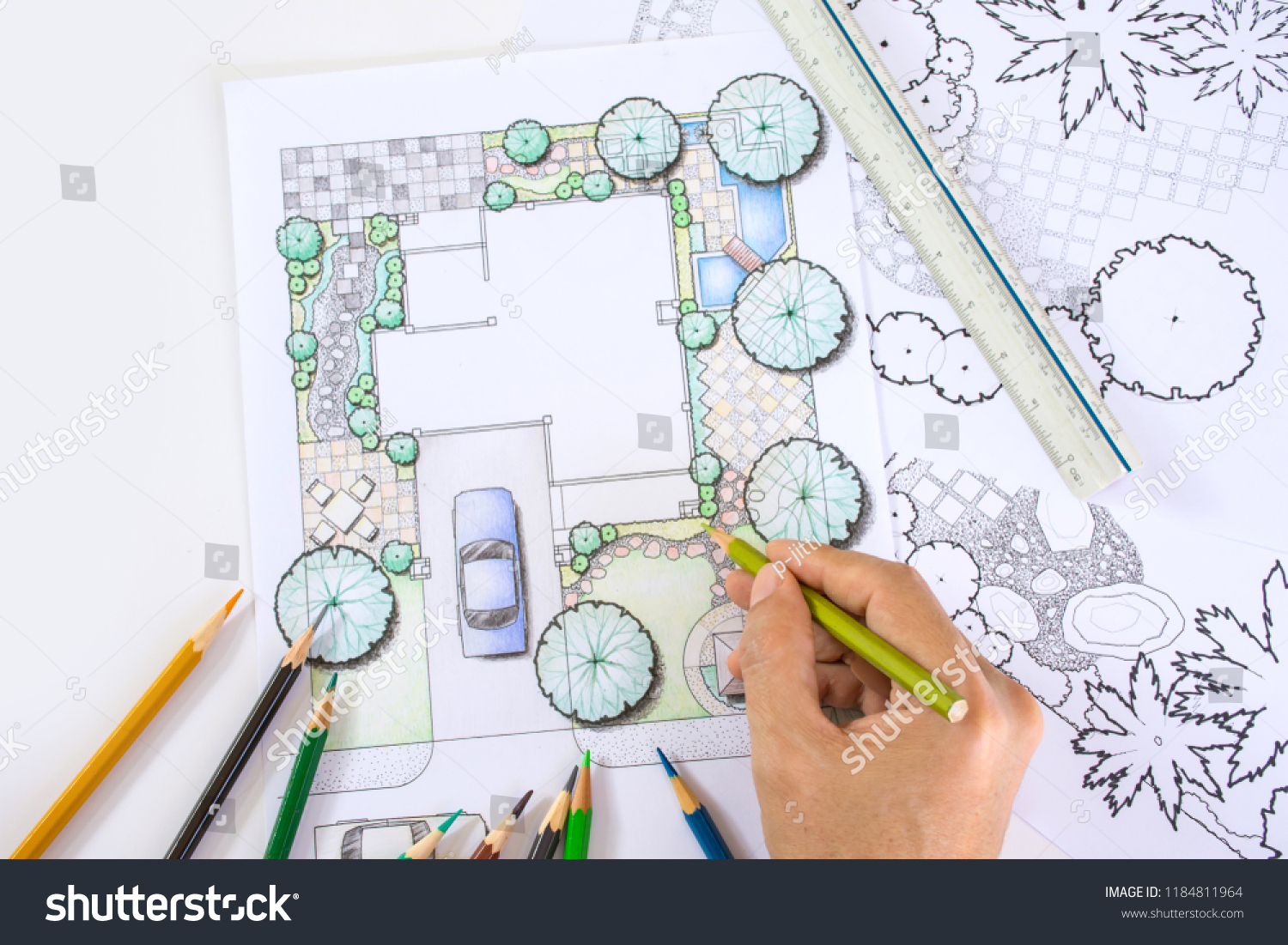 Layout Plan Home Landscape Design Garden Stock Photo Edit Now 1184811964