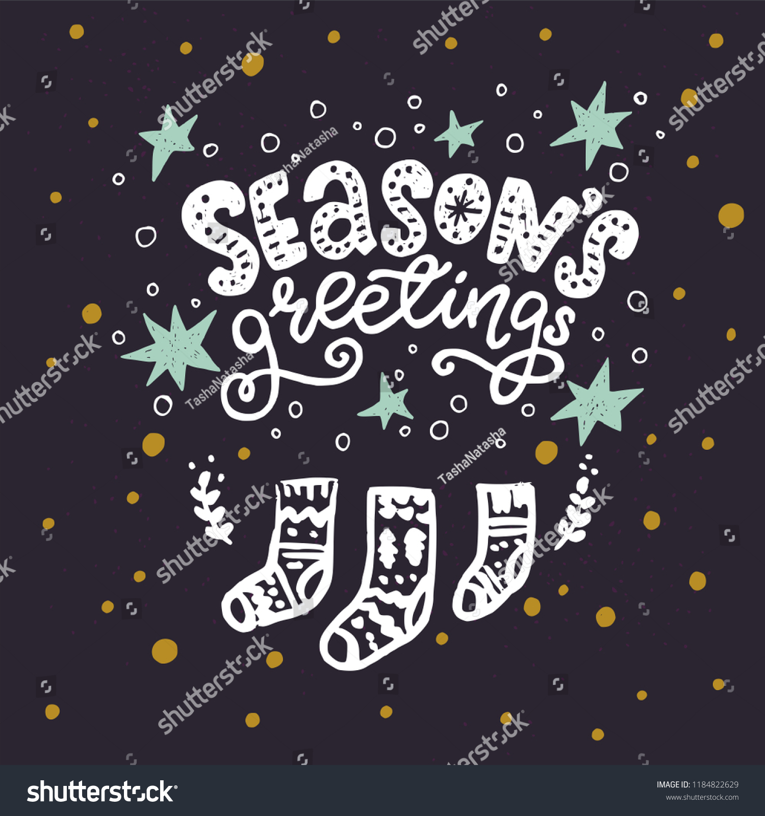 Seasons greetings unique hand lettering quote stock vector royalty seasons greetings unique hand lettering quote cute holiday card with hand drawn christmas doodle socks m4hsunfo