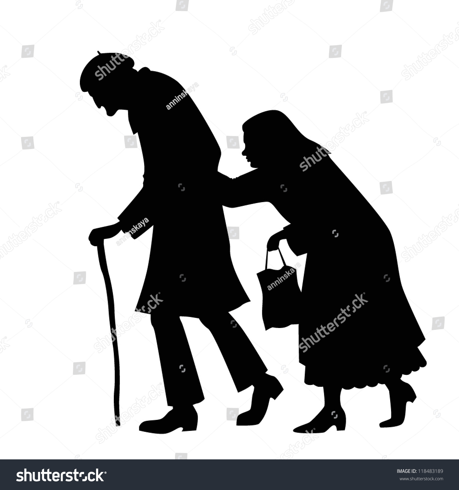 Silhouette Couple Walking Old Man Cane Stock Vector ...