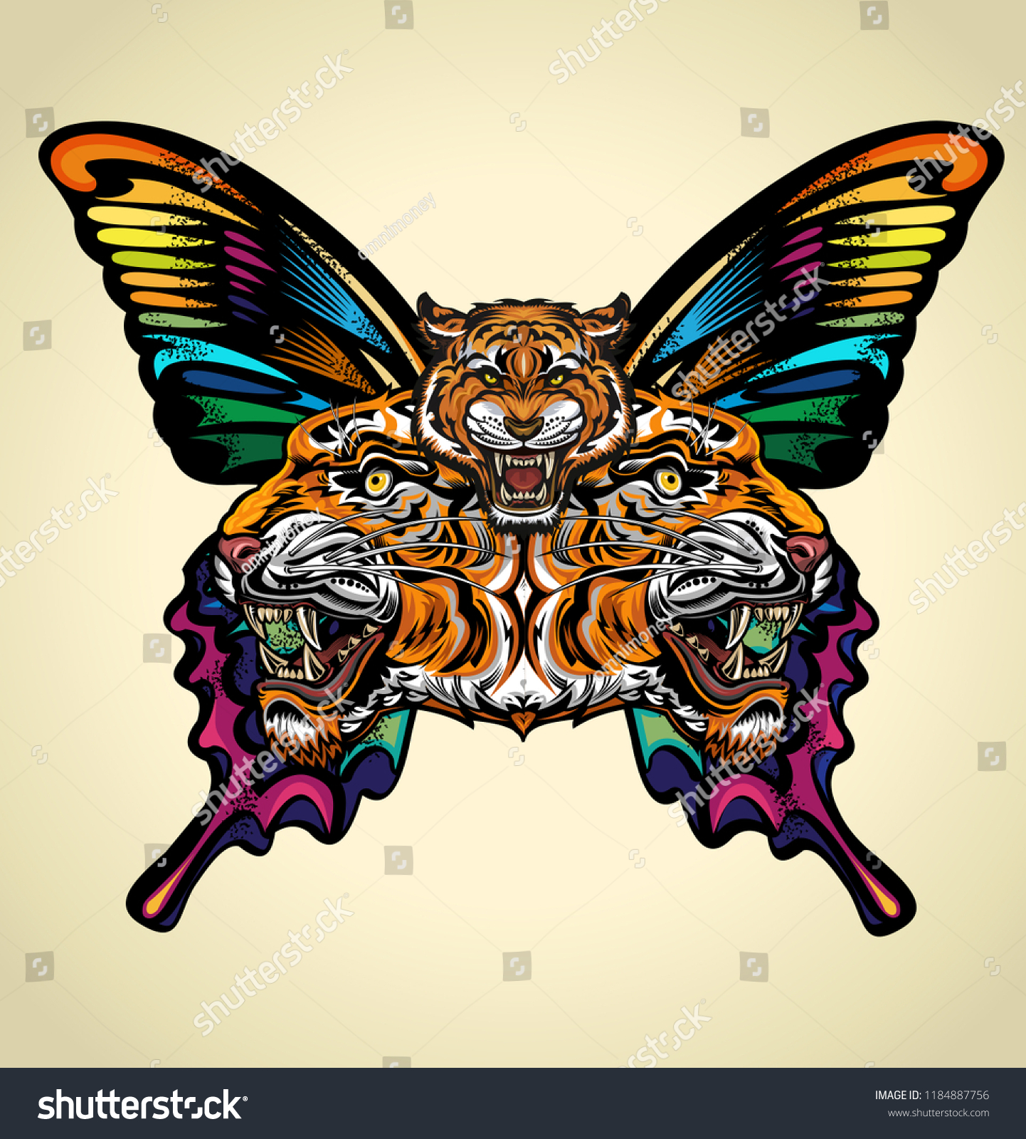 Beautiful Butterfly Tattoo Angry Tiger Face Stock Vector Royalty