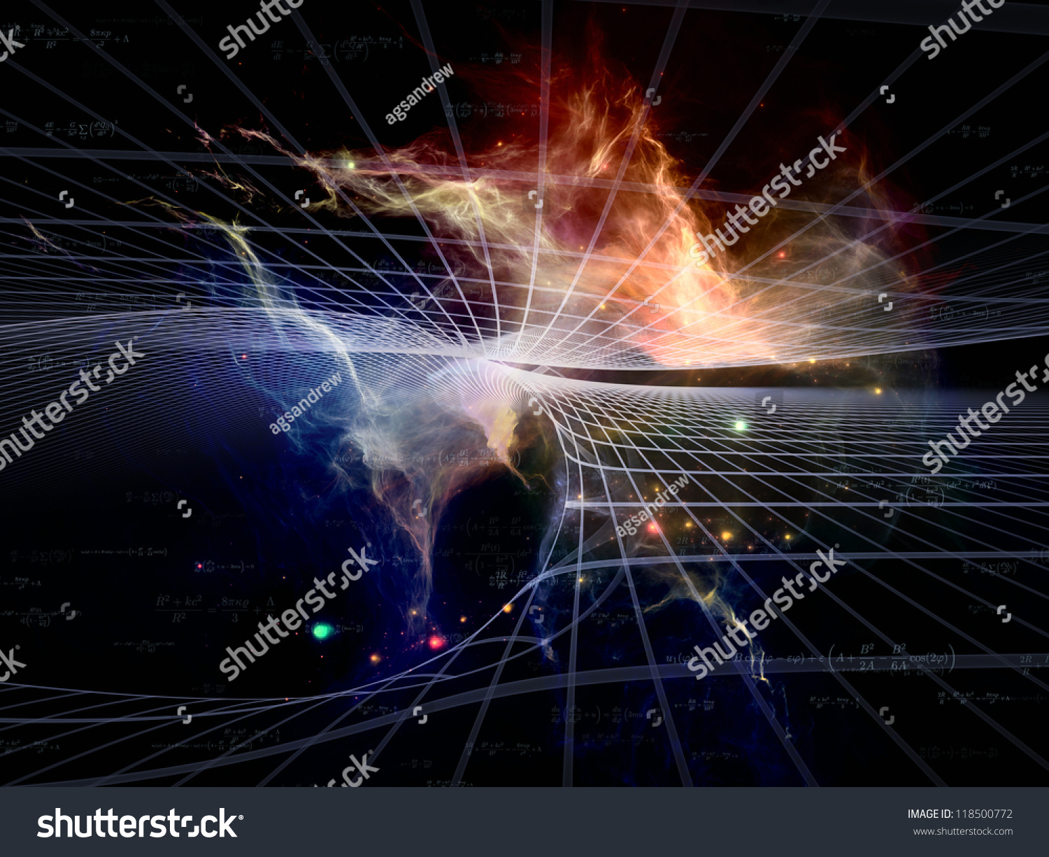 Space Topology Series. Backdrop Composed Of Grids, Nebulae ...