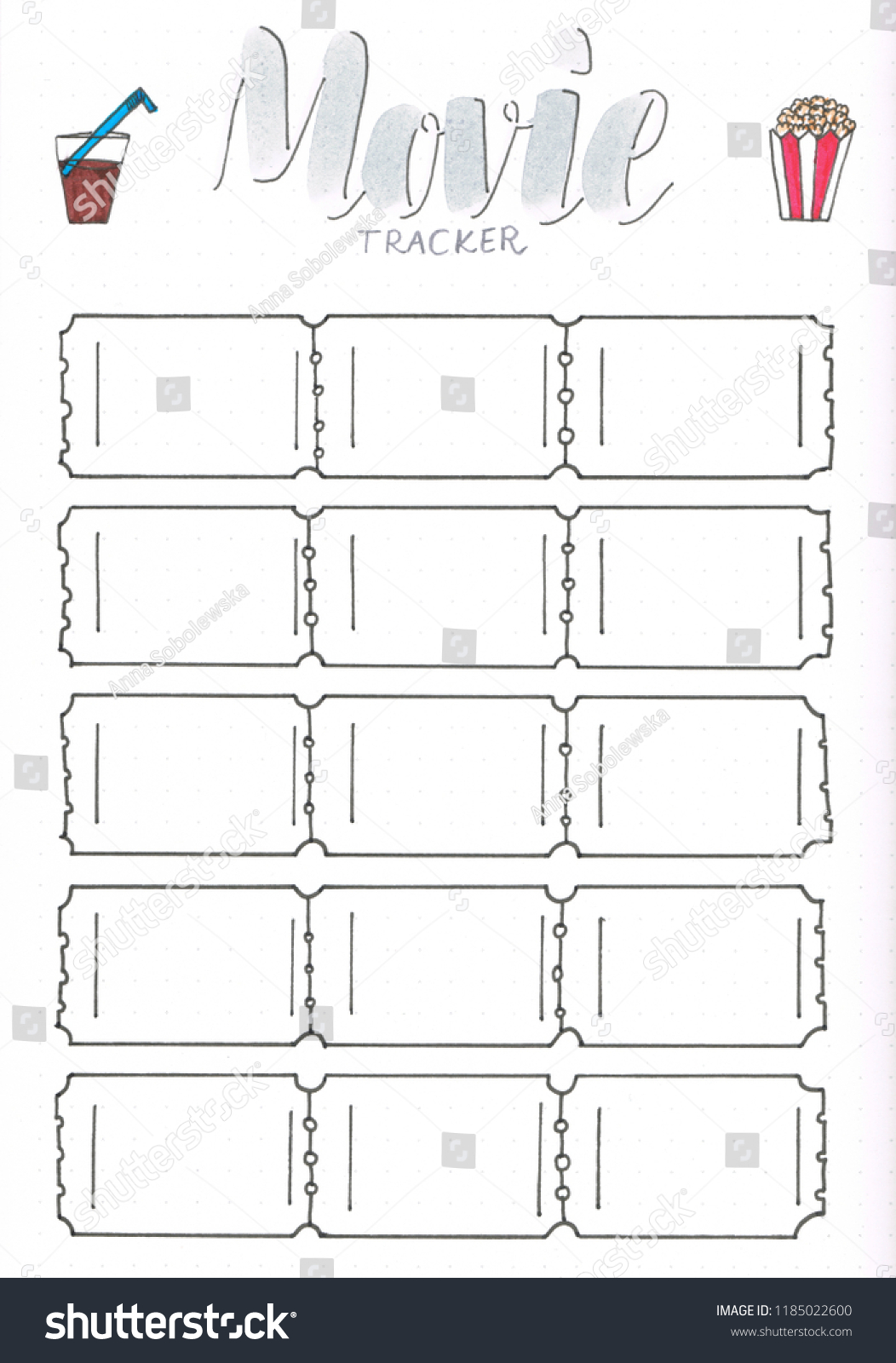 Royalty Free Stock Illustration Of Movie Tracker Bullet Journal