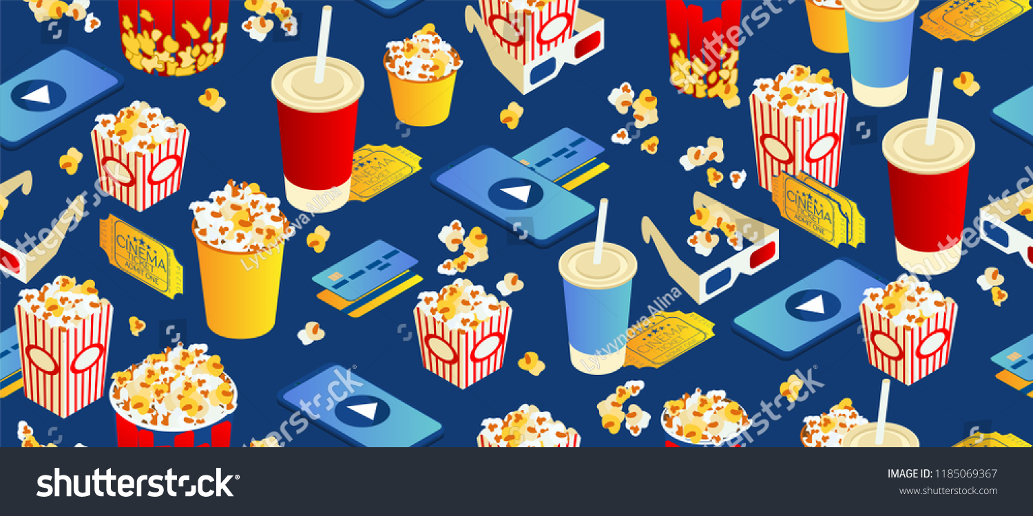 seamless pattern on blue background. Popcorn, cola, 3d movie eyeglasses and movie tickets. Bright interesting texture. Isometric 3d