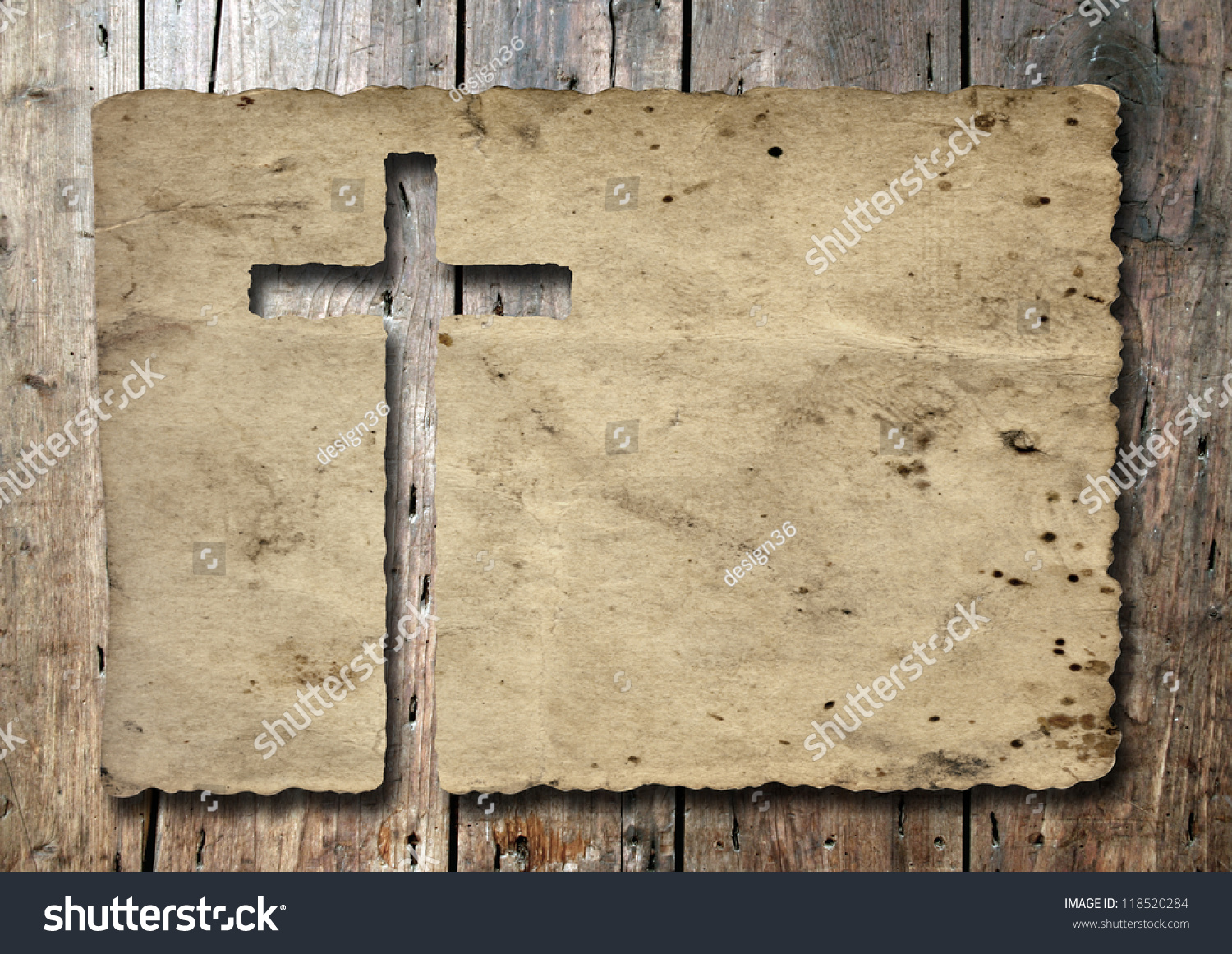 high resolution christian cross cut old stock photo 118520284
