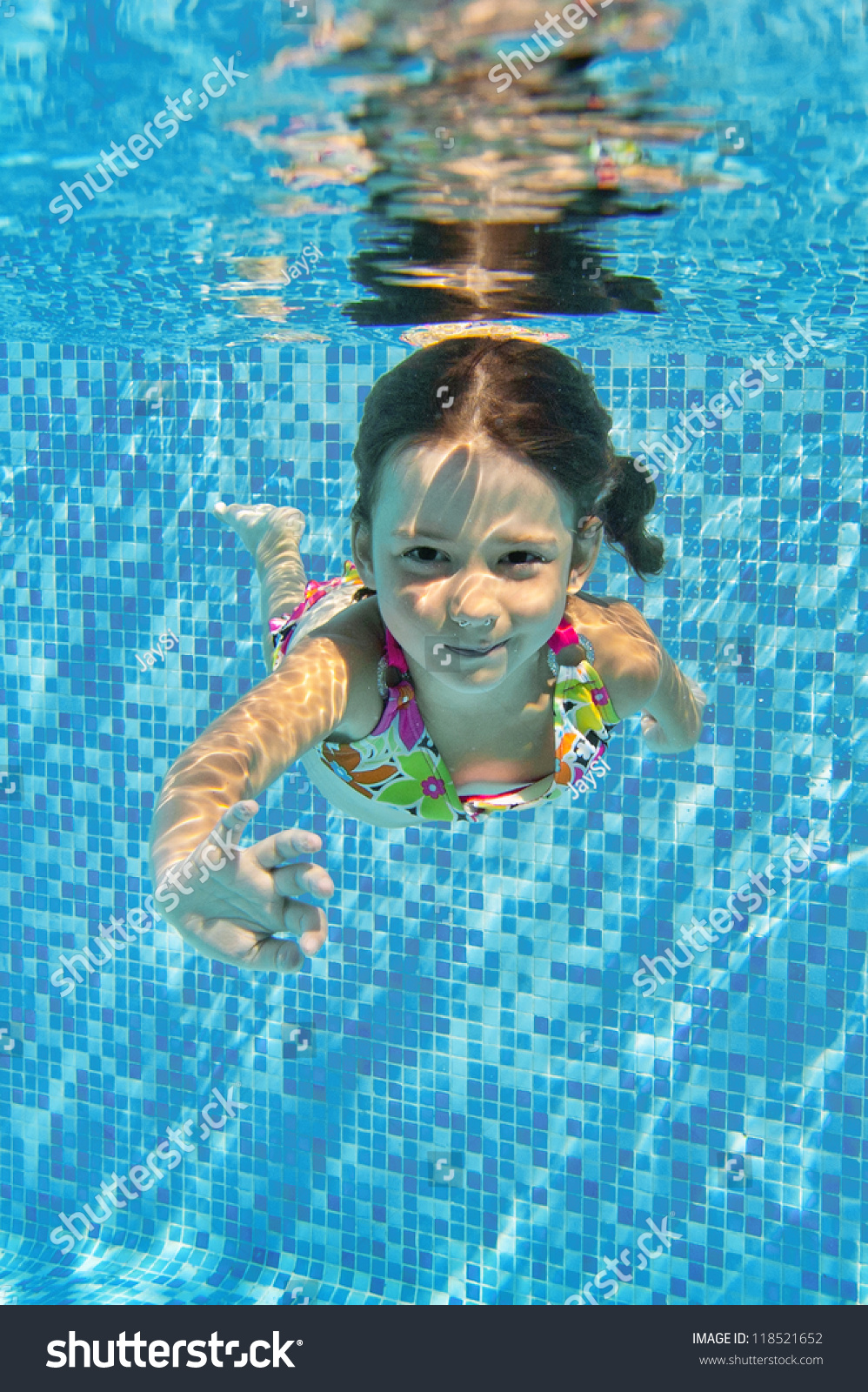 Happy Smiling Underwater Child Swimming Pool Stock Photo ...
