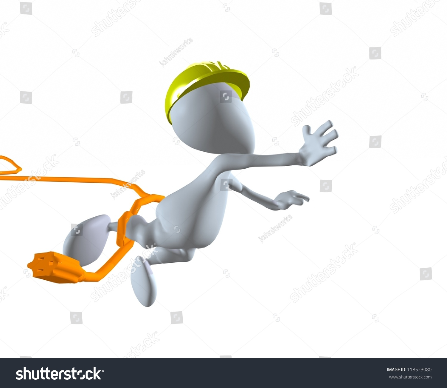 Extension Cord Trip Hazard : D man construction worker tripping on stock illustration