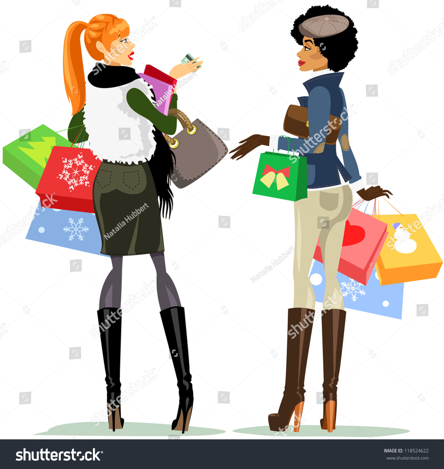 Shopping Women Pretty Girls Carrying Bags Boxes And Plastic Card Having Chat