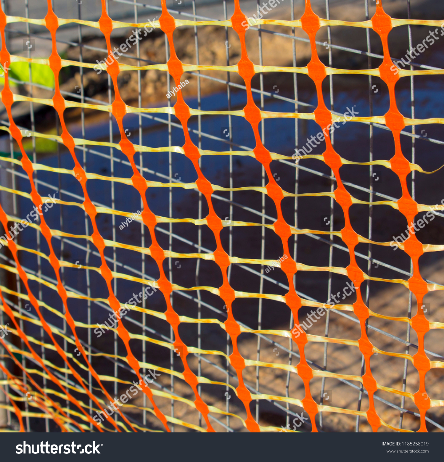 Red Yellow Plastic Mesh Fencing Wire Stock Photo (Edit Now ... on