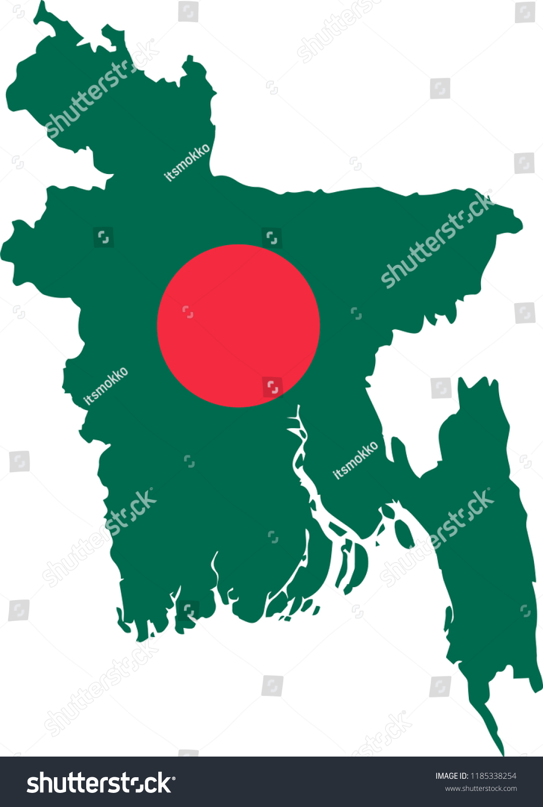 Vector Map Bangladesh Isolated White Background Stock Vector