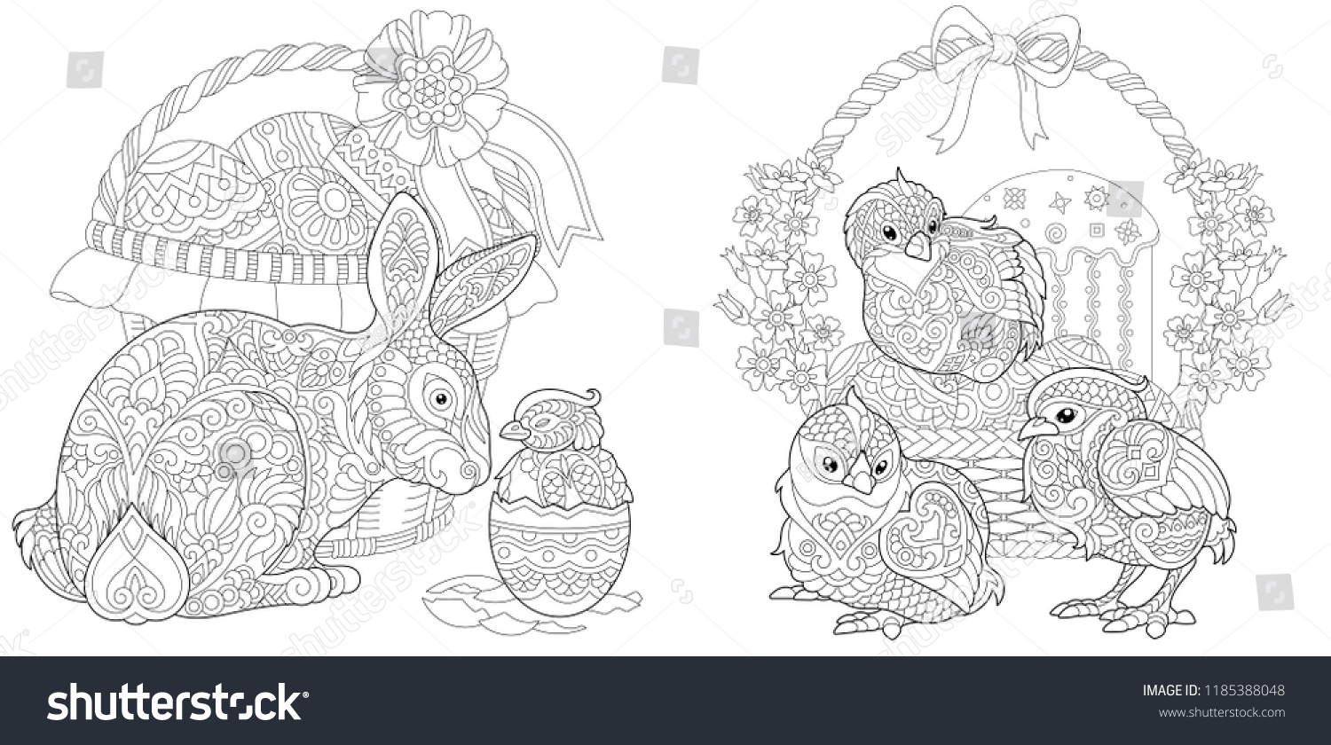 Easter Coloring Pages Coloring Book Adults Stock Vektorgrafik