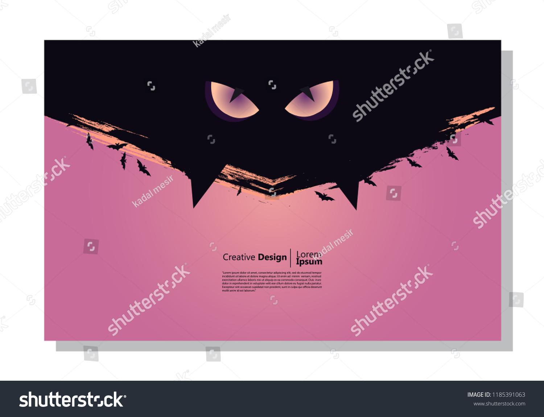 Halloween Theme Background Cats Eyes Bat Stock Vector