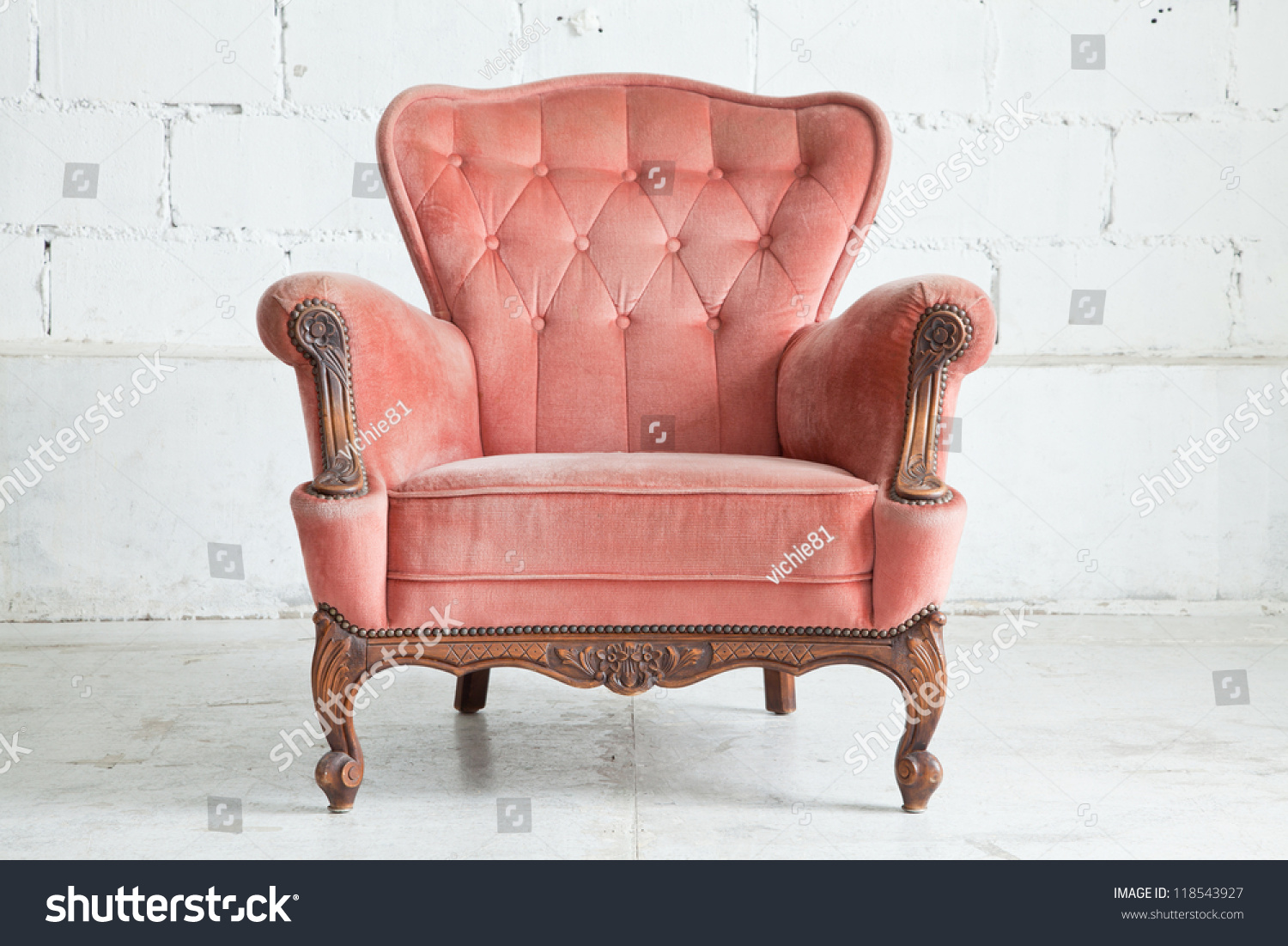 Pink Classical Style Armchair Sofa Couch In Vintage Room Stock Photo 118543927 Shutterstock