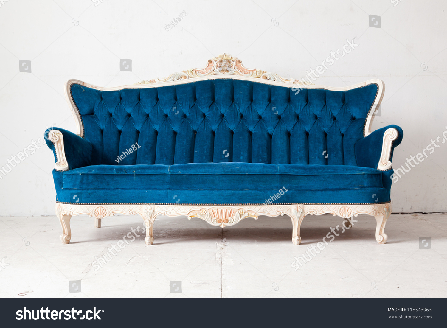 Blue Vintage Classical Style Sofa Bed Stock Photo