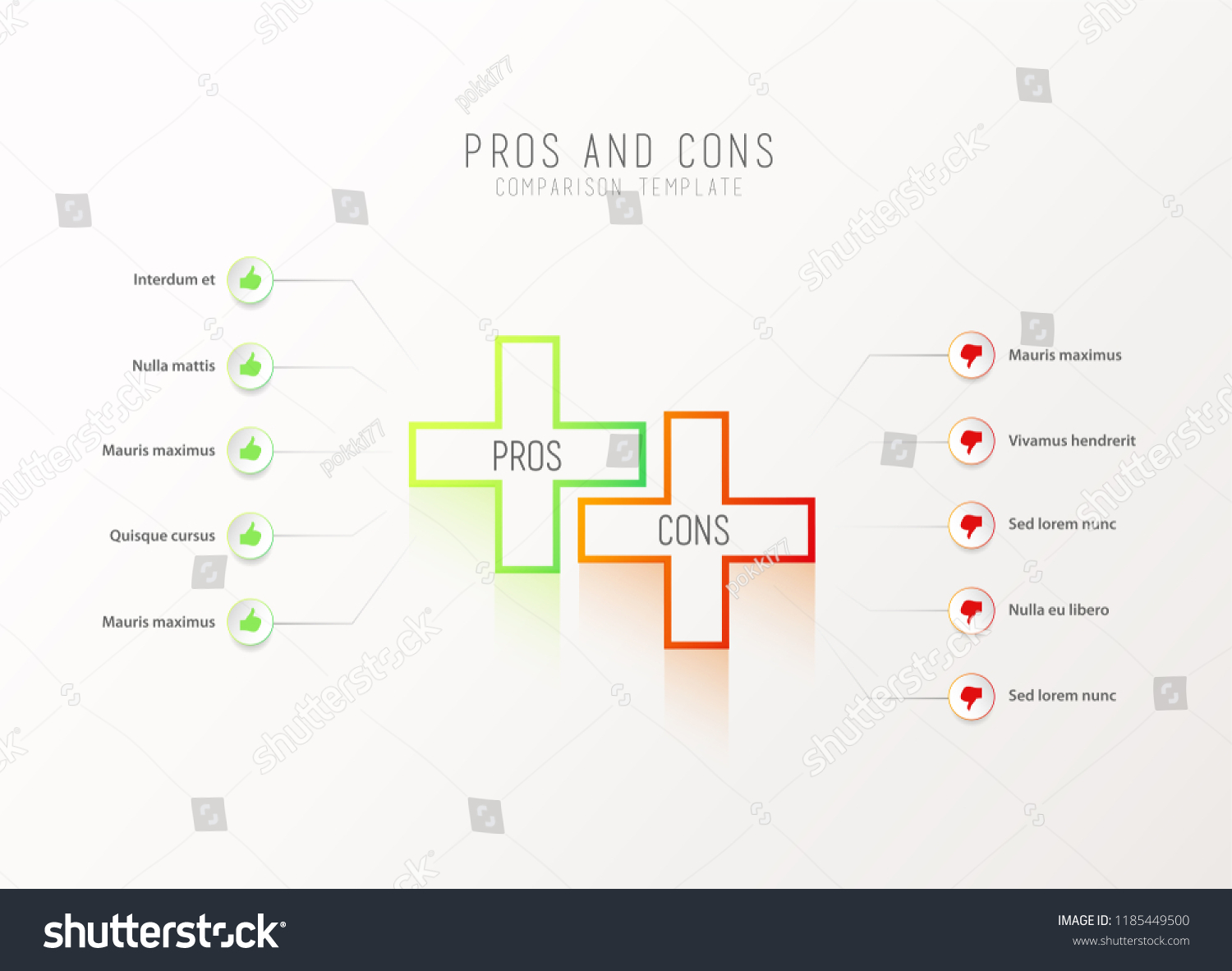 Pros And Cons Comparison Vector Template Light With Green Orange Plus Signs