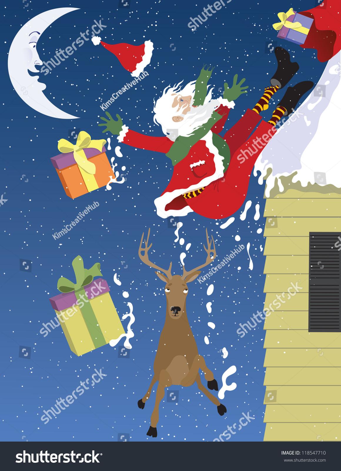 Vector Illustration Of Santa Falling Off A Roof Santa