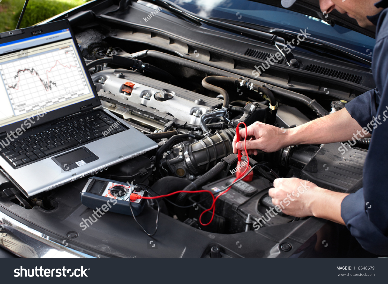 Professional Car Mechanic Working Auto Repair Stock Photo