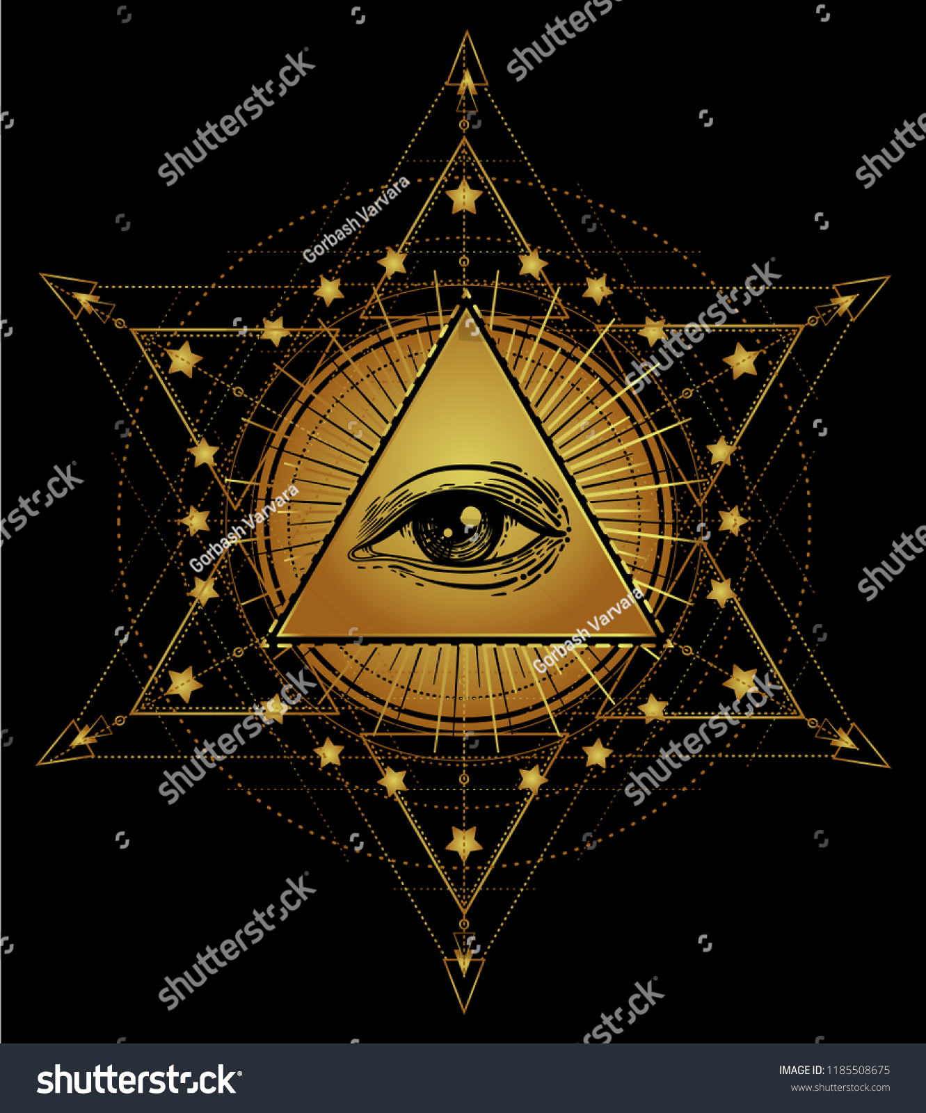 Tattoo Flash Eye Providence Masonic Symbol Stock Vector Royalty