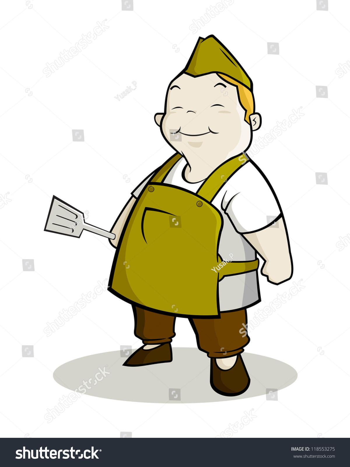 cartoon character fat chef wearing apron stock vector 118553275